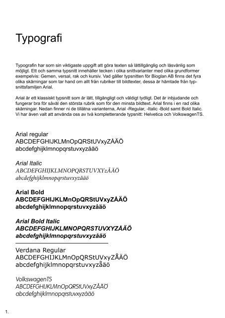 Innehåll Typografi 1 Fä