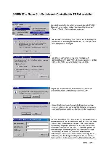 SFIRM32 – Neue EU(/Schlüssel-)Diskette für FTAM erstellen