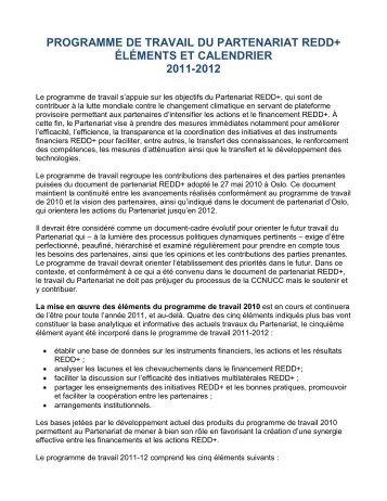 Programme de Travail du Partenariat REDD+ 2011-2012