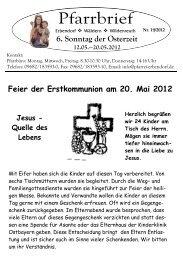 Feier der Erstkommunion am 20. Mai 2012 Jesus ... - Pfarrei Erbendorf