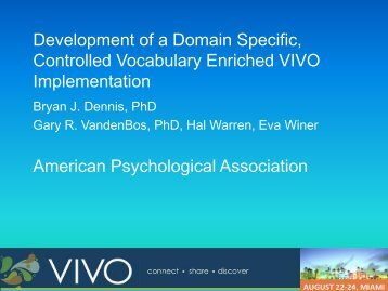 Development of a Domain Specific, Controlled Vocabulary ... - VIVO