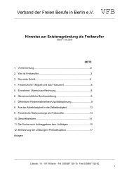 Hinweise zur Existenzgründung als Freiberufler - Verband freier ...