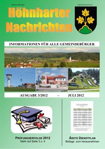informationen für alle gemeindebürger ausgabe 3/2012 - Höhnhart