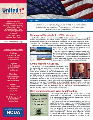 Apr 2009 - Issue 11 - United 1st Federal Credit Union