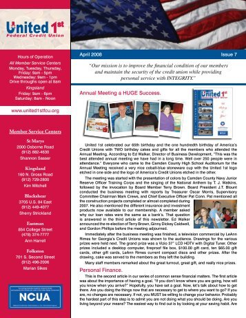 Apr 2008 - Issue 7 - United 1st Federal Credit Union