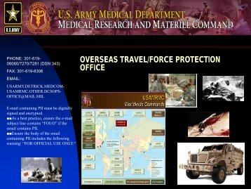 Overseas Travel/Force Protection Office - US Army Medical ...