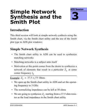 Simple Network Synthesis and the Smith Plot