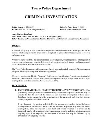 From an object after thre - Criminal bureau of investigation mn ...