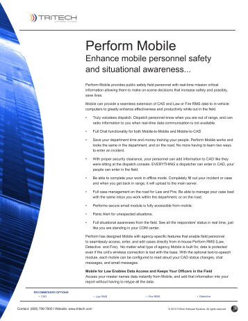 Perform Mobile - TriTech Software Systems