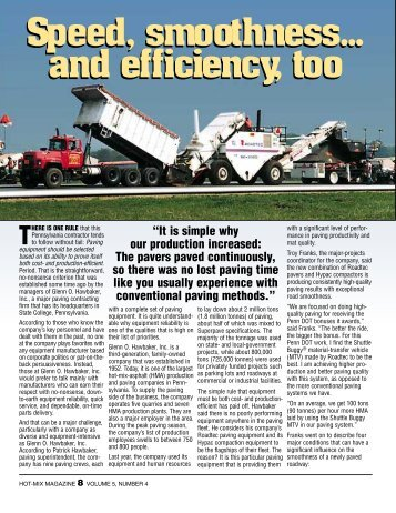 Fast, Smooth And Efficient - Hot-Mix Magazine
