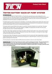 TRITON BATTERY BACK-UP PUMP SYSTEM - Triton Chemicals