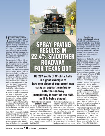 Spray Paving Results In Smoother Roadway - Hot-Mix Magazine