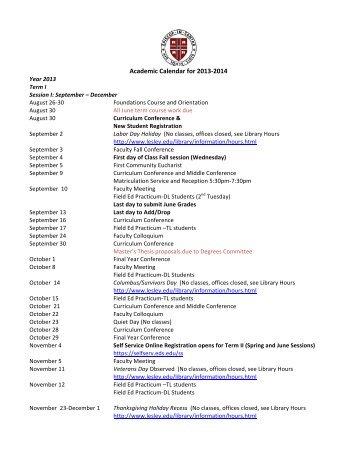 Academic Calendar for 2013-‐2014