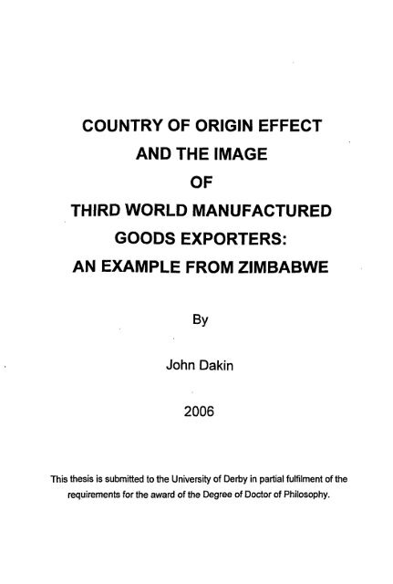 This Thesis Is Submitted To The University Of Derby In Partial Fulfilment  ...