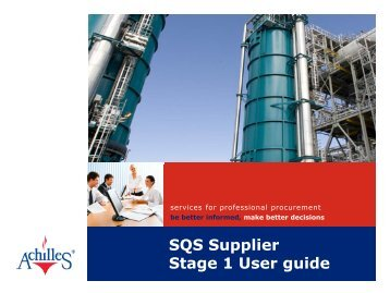 SQS Supplier Stage 1 User guide - Shell