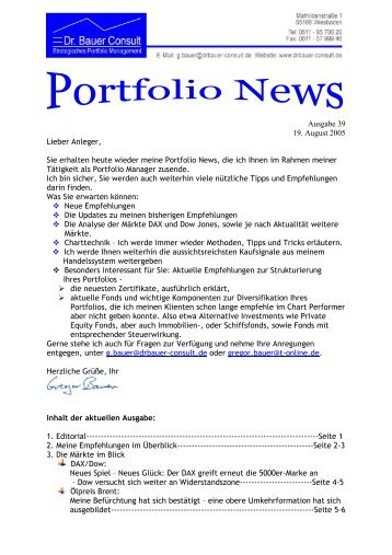 Ausgabe 39 19. August 2005 Lieber Anleger ... - Dr. Bauer Consult