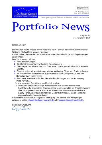 1 Ausgabe 51 26. November 2005 Lieber ... - Dr. Bauer Consult