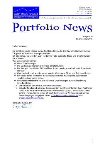 1 Ausgabe 54 16. Dezember 2005 Lieber ... - Dr. Bauer Consult