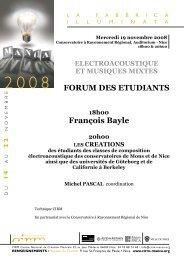 FORUM DES ETUDIANTS François Bayle - Cirm
