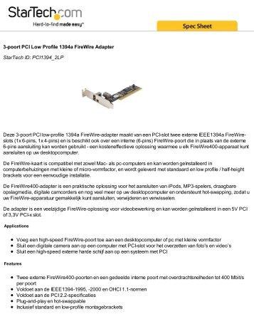 3-poort PCI Low Profile 1394a FireWire Adapter StarTech ID ...