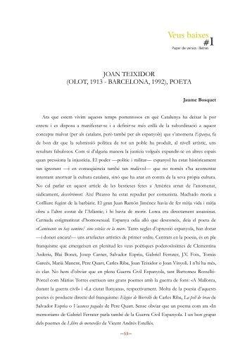 JOAN TEIXIDOR (OLOT, 1913 - BARCELONA, 1992), POETA - Traces