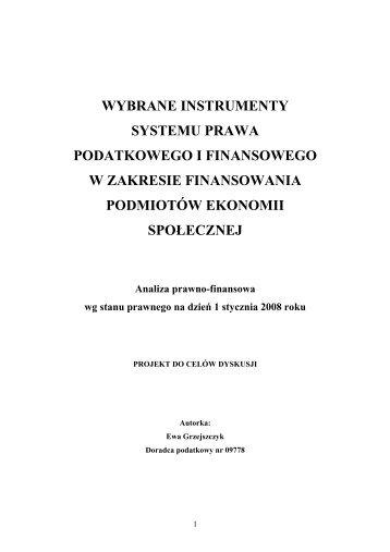 wybrane instrumenty systemu prawa podatkowego i finansowego w ...