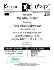 March 4, 2005 - Torah Academy of Minneapolis