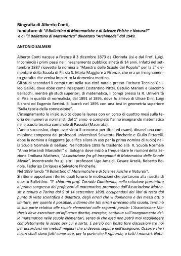 1. Biografia di Alberto Conti - Euclide. Giornale di matematica per i ...