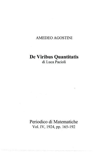 3b. Amedeo Agostini - De Viribus Quantitatis di Luca Pacioli
