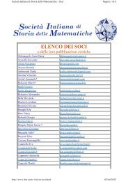 Società Italiana di Storia delle Matematiche.Elenco Soci