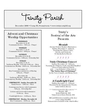 December, 2006 Trinity Parish - Trinity Evangelical Lutheran Church