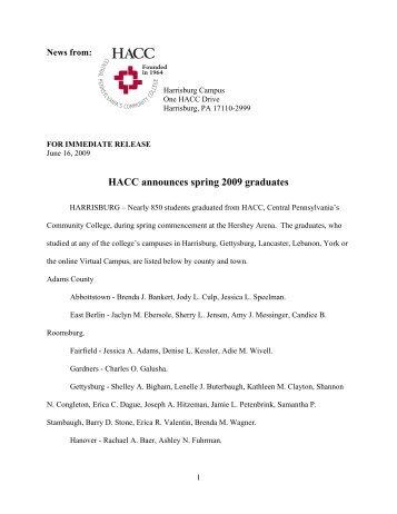 graduation list - HACC Newsroom