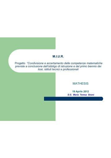 Conferenza Maria Teresa Strani - Euclide. Giornale di matematica ...