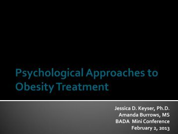 Psychological Approaches to Obesity Treatment