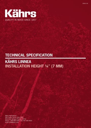 "Technical SpecificaTion KährS linnea inSTallaTion heighT ¼"" (7 mm)"
