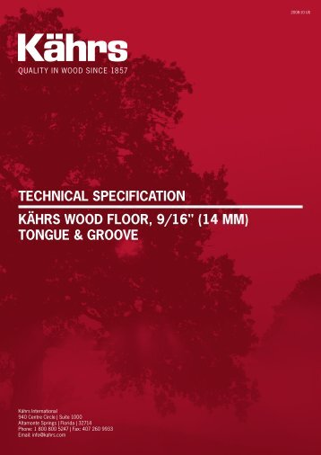 "Technical SpecificaTion KährS Wood floor, 9/16"" (14 MM) TonGUe ..."