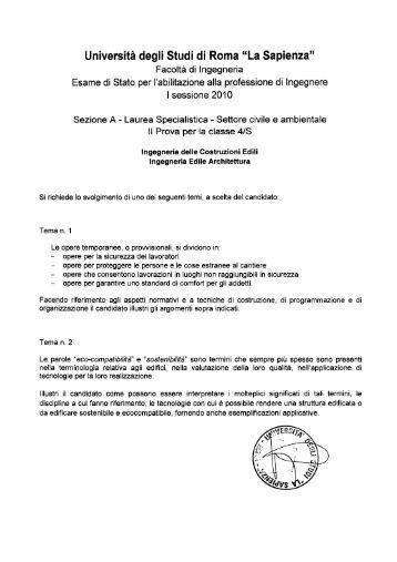 Sapienza for Elenco studi di architettura roma
