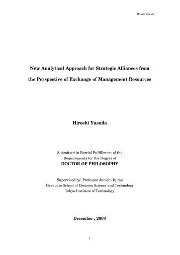 New Analytical Approach for Strategic Alliances ... - Is.me.titech.ac.jp