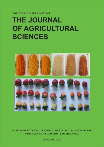 THE JOURNAL OF AGRICULTURAL SCIENCES - Sabaragamuwa ...