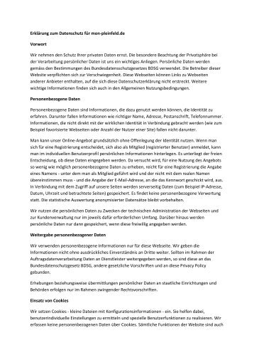 Erklärung zum Datenschutz anzeigen - mon-pleinfeld.de