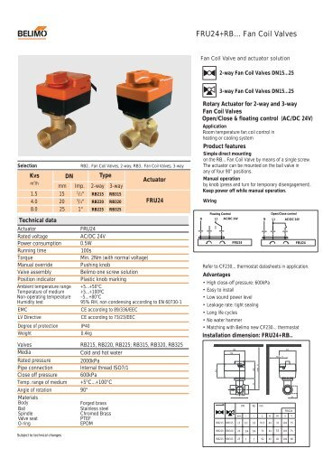 FRU24+RB... Fan Coil Valves - Belimo Actuators (Shanghai)