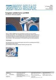Press release Tungsten carbide burrs cut INOX - Pferd