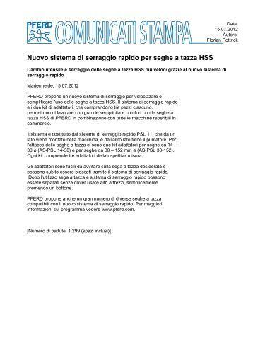 Nuovo sistema di serraggio rapido per seghe a tazza HSS - Pferd