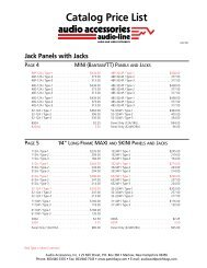 Catalog Price List – Patchbays - Audio Accessories, Inc.