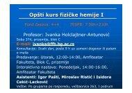 Opšti kurs fizičke hemije I - Fakultet za fizičku hemiju - Univerzitet u ...