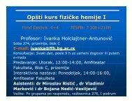 Predavanje 1 - Uvod - Fakultet za fizičku hemiju - Univerzitet u ...
