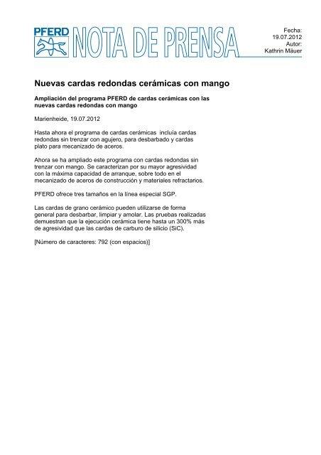 Nuevas cardas redondas cerámicas con mango - Pferd