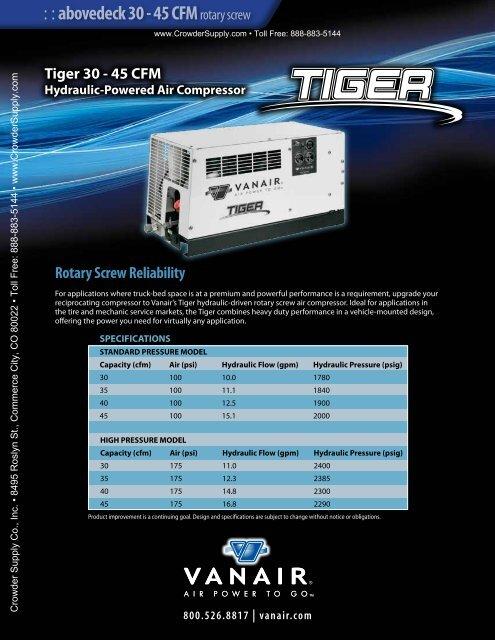 Tiger 30-45cfm Hydraulic Powered Air Compressor - Crowder Supply