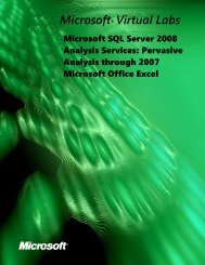 Table of Contents - Microsoft Virtual Labs
