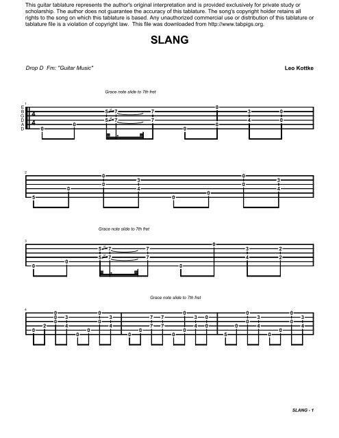 "Leo Kottke Drop D Fm: ""Guitar Music"" This guitar ... - Tabpigs.org"